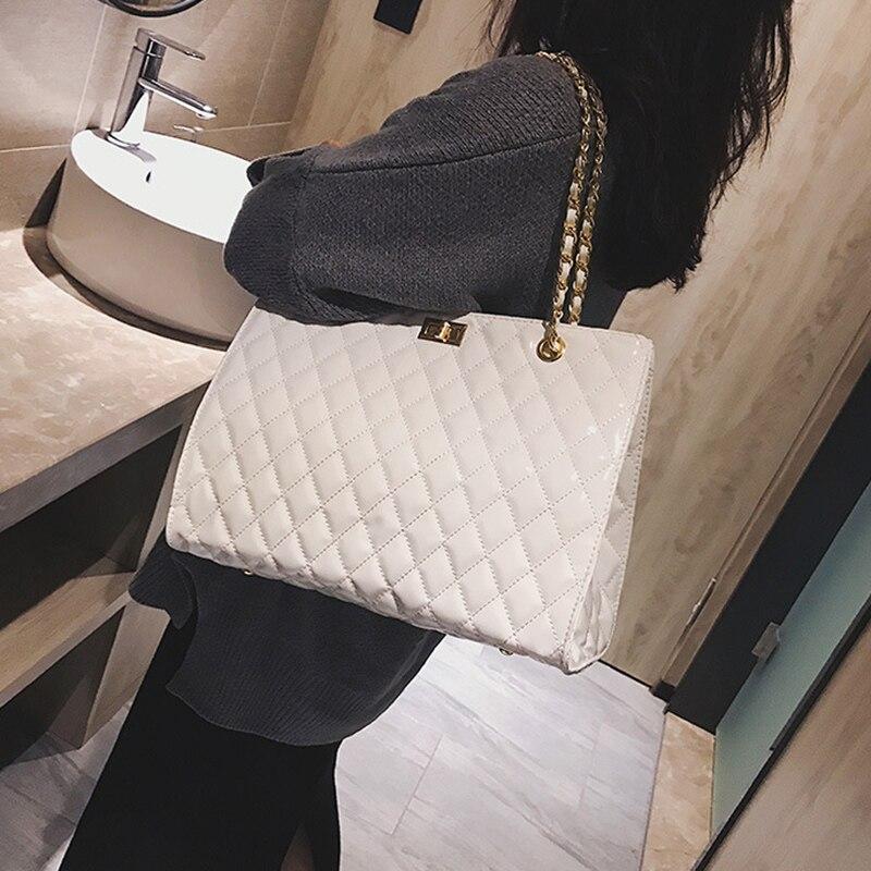 FEMALEE chaîne grand Sac à bandoulière femmes sacs de voyage en cuir verni sacs à Main de luxe pour femmes marque fourre-tout Designer Sac A Main Femme
