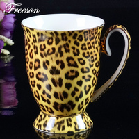 Bone China Coffee Mug Leopard Tiger Stripe With Spoon 300ml Gold Inlay Milk Tea Mug Retro Porcelain Coffee Cup Drinkware