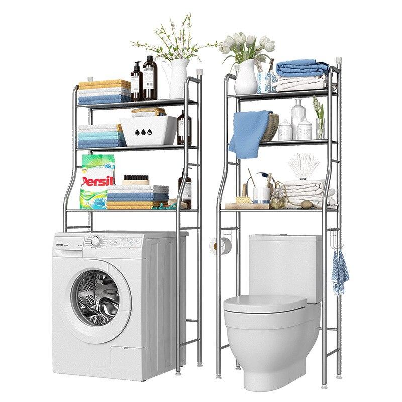 Sobre O Rack de Vaso Sanitário De Aço Inoxidável Prateleiras Do Armário de Cozinha Máquina de Lavar Roupa Rack Space Saver Organizador Prateleira Do Banheiro Titular