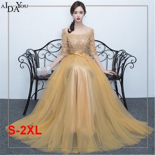 Sparkle goldene langes kleid slash Neck appliques reich Taille mesh ...