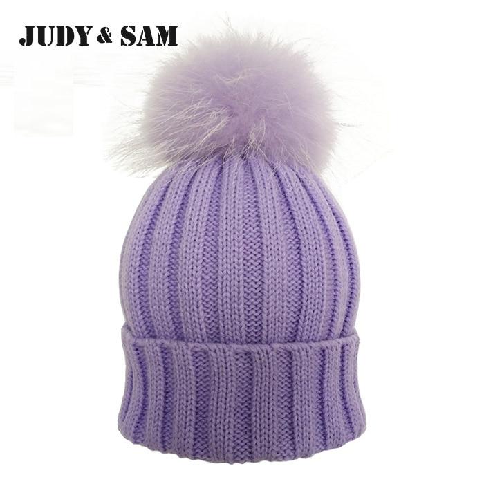JS FUR Design Teplá zimní vlněná směs Pletené dámské čepice - Příslušenství pro oděvy