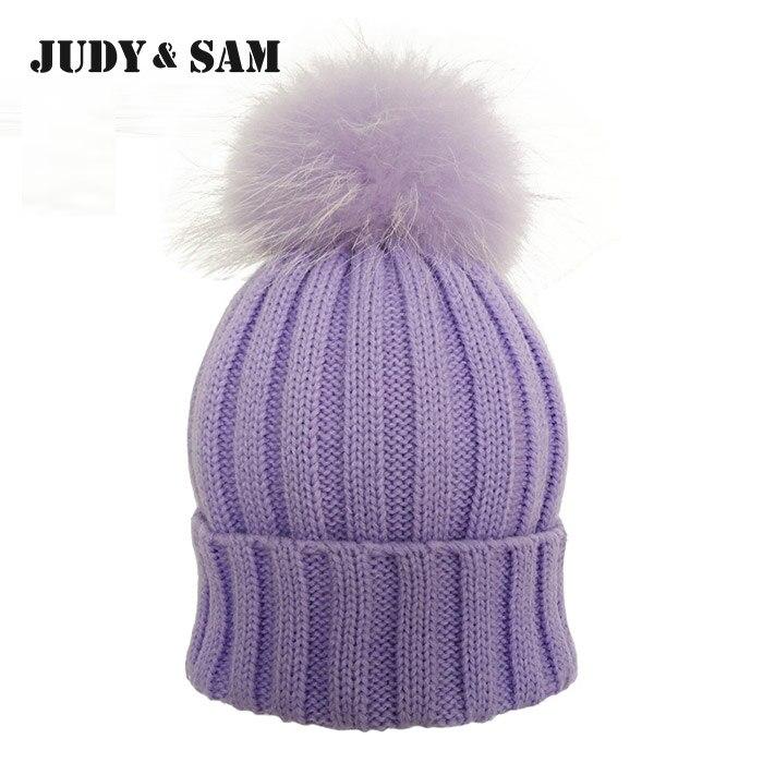 JS FUR Design Warm Winter Wool Blend Knitted Womens