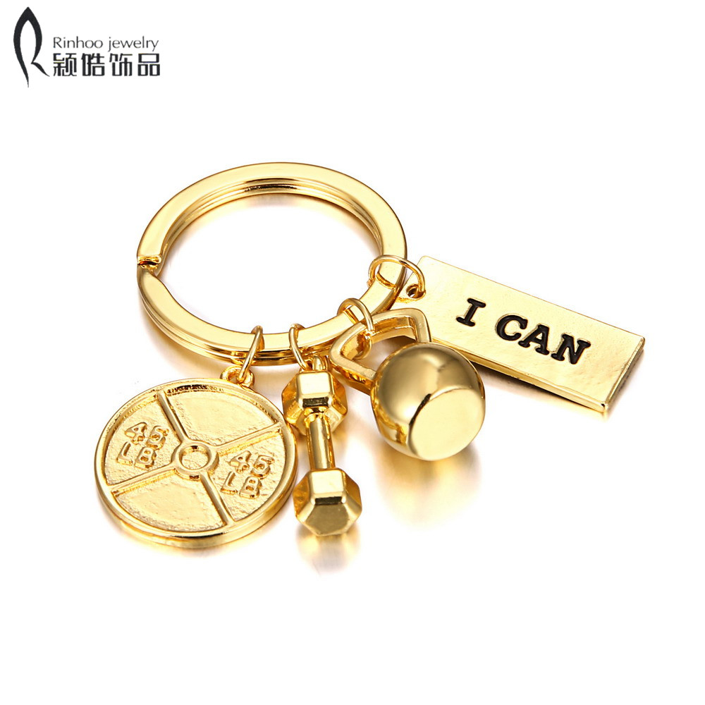 3type Barbell Keychain Gym Key Chain Sport Kettle Bell I CAN ME ME Strong Is Beautiful Charm Key Ring Trinket