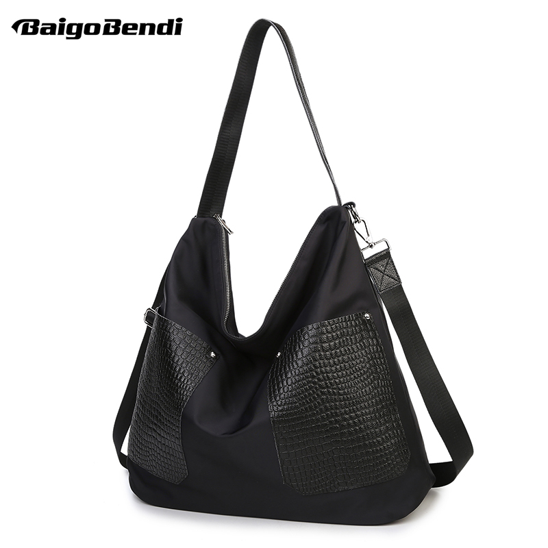 Light Weight Women High-capacity Shoulder Bag Large Shoulder Bags Casual Tote Black Nylon Shopping Bag waterproof oxford tote bag nylon shoulder mummy bag large capacity women shopping bags bolsa