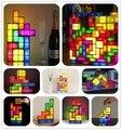 Real life anime Classic Game Tetris Sliding Blocks Absolute Tris LED light 3D Magic lamp minifigures night action figure