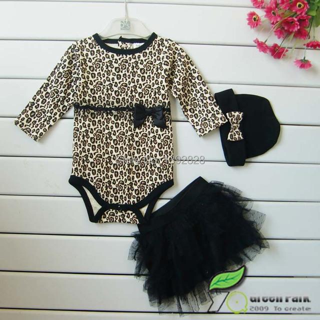 Venta al por menor 2017 de la venta Caliente!! mamelucos del bebé fija muchachas encantadoras de manga larga leopard mamelucos set (tener sombrero) + Tutu cabritos de la falda arco outwear