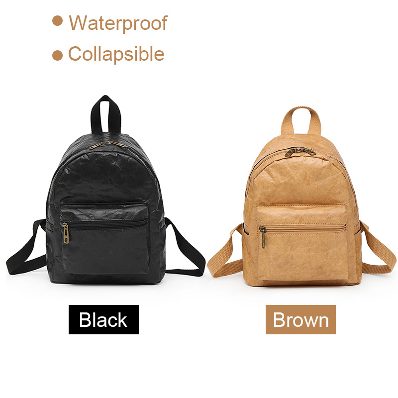 Women Men Backpack Shoulder Bag Foldable Waterproof Zipper Kraft Paper Durable Gift AB@W3