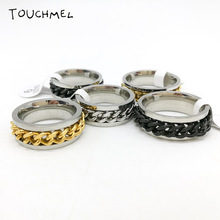 Finger Fidget Spinner Ring EDC Toy for ADHD Autism Stainless Steel Chain Ring Fidget
