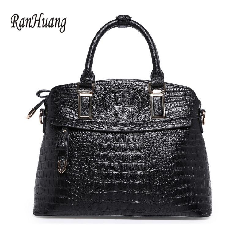 RanHuang Women Genuine Leather Handbags 2017 Fashion Top-handle Bags Black Allig