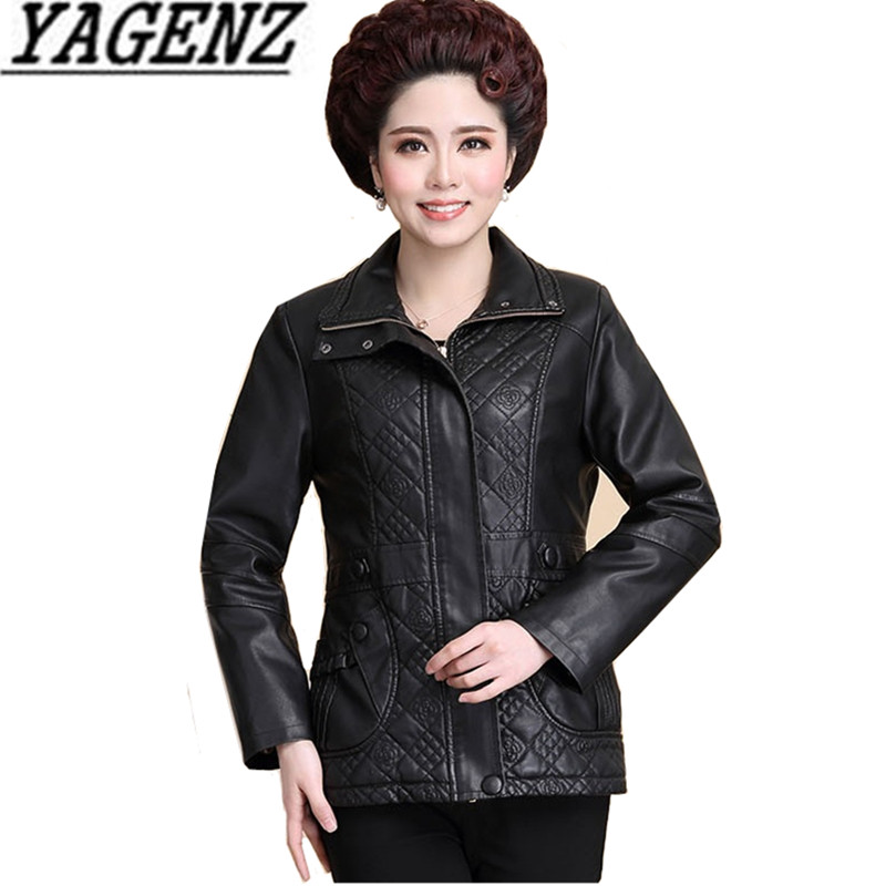 Oversized Middle-aged Women's PU   leather   Jacket 2018 Spring Slim Lapel Faux   Leather   Outerwear Ladies Casual Black Jackets XL-7XL
