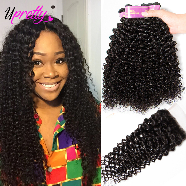 Upretty Malaysian Curly Hair With Closure Human Hair  Bundles With Closure Virgin Malaysian Curly Hair