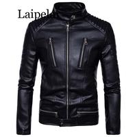 Laipelar Newest British Motorcycle Leather Jacket Men Classic Design Multi Zippers Biker Jackets Male Bomber Leather Jackets Coa