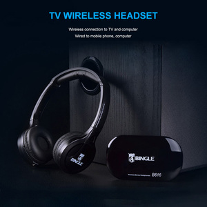Image 2 - Professional Wireless TV Headset Stereo Headphones with transmitter Home FM Radio TV Over ear Headset For Computer Phone MP3