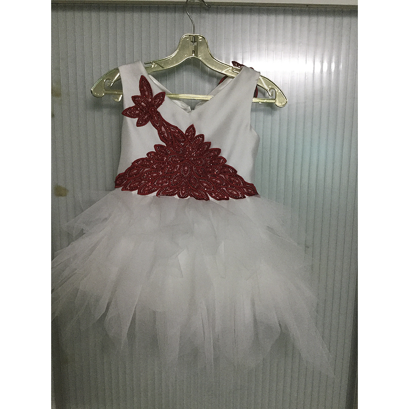 Finove Flower Girls Dress 2019 New Summer Girl Party Dress Ball Gown V Neck White and