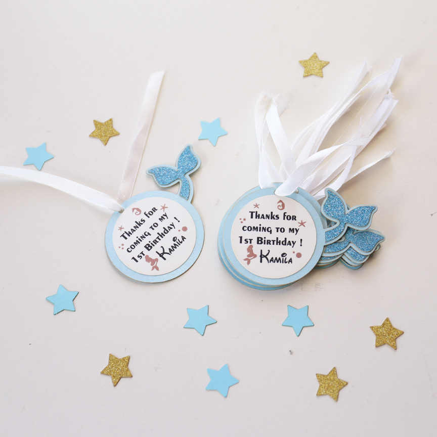 Detail Feedback Questions About Personalized First Birthday Favor Tags Mermaid Party Gift Laser Cut Baby Shower Thank You Sea Themed Favour Tag