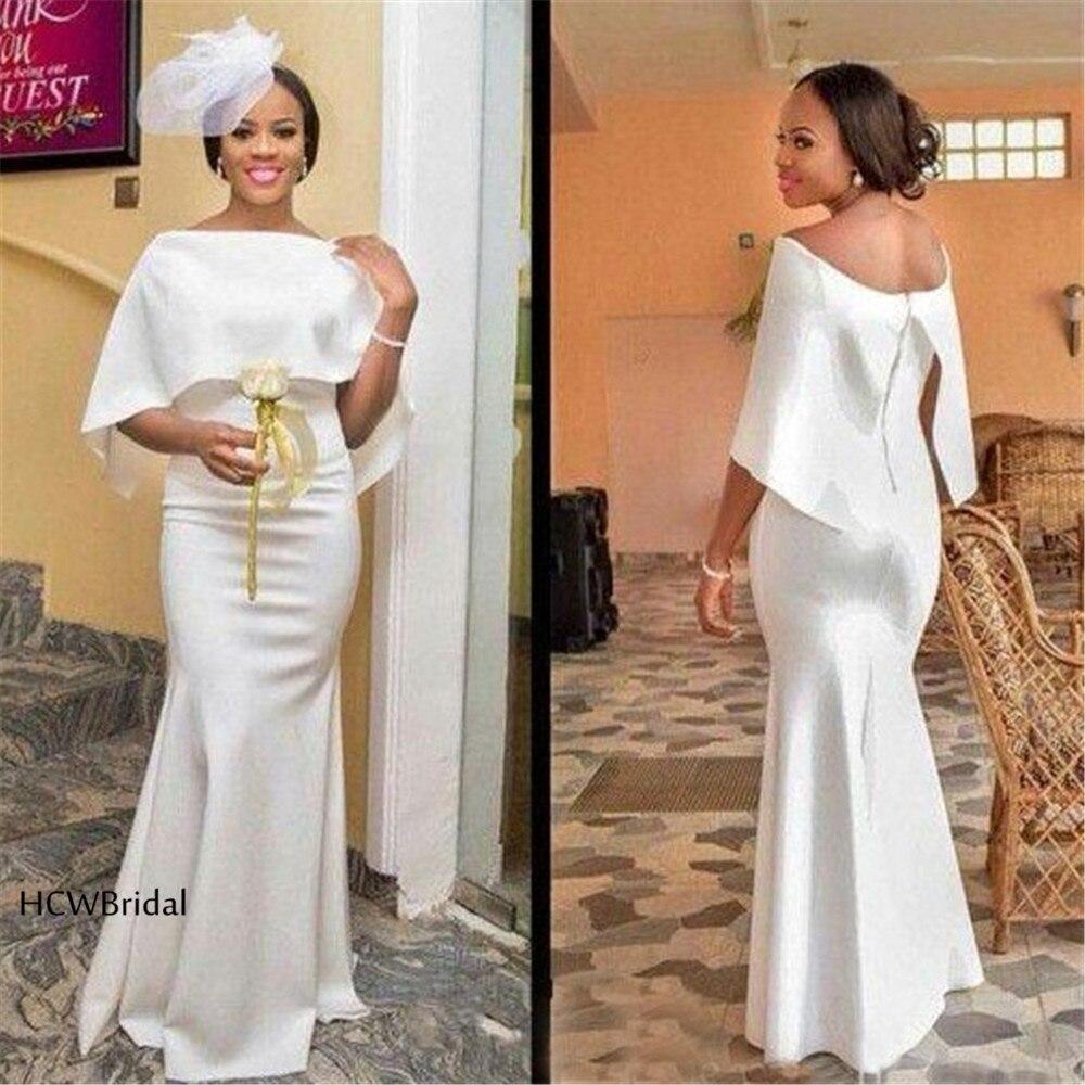 2019 White African   Prom     Dresses   Off The Shoulder Mermaid Floor Length Satin Long Formal Evening Gowns Cheap Vestido De Festa