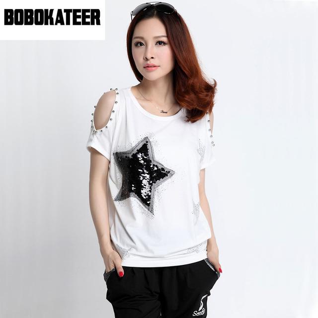 Fora os topos de ombro para as mulheres t camisa de algodão t-shirt mulheres camiseta femme camisetas mujer pluse tamanho top de lantejoulas paillettes
