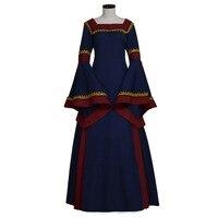 Винтаж средневековой Для женщин темно синий Ренессанс Elizabeth крестьянское платье Косплэй костюм Индивидуальный заказ