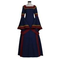 Vintage Medieval Women's Dark Blue Renaissance Elizabeth Peasant Dress Cosplay Costume Custom Made