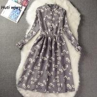 Вельветовое винтажное платье с высокой эластичной резинкой на талии, женское платье трапециевидной формы с длинным рукавом и цветочным при...
