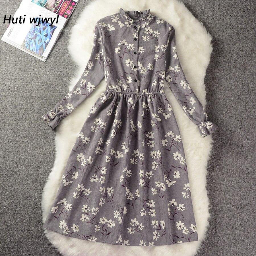 Pana alta cintura elástica vestido Vintage estilo A-line mujeres manga completa Flor Plaid impresión vestidos Delgado primavera vestido 18 colores
