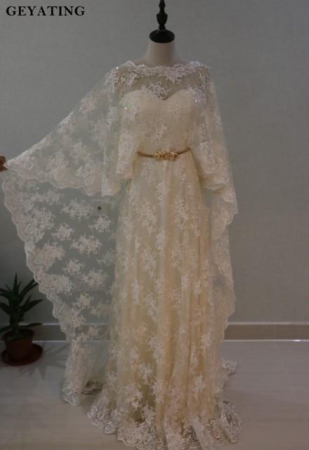 Elegant Cream Lace Arabic Evening Dress with Cape Gold Belt Light ...