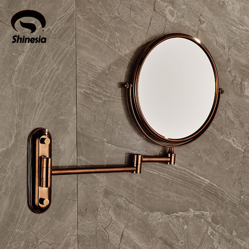 ФОТО Rose Gold Mirror Beauty Makeup Mirror Dual Sides Round Mirror Magnifying Mirror 8