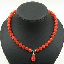 Vintage Classic joyería de piedra Natural magnífico elegante de Color naranja Carnelian con cuentas cadena gargantilla collar con colgante 45 cm