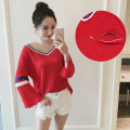 Maternity Women Sweater Nursing Top Chic V Neck Trumpet Sleeve Knit Pullover Tops Pregnant Breast Feeding Clothing Basic Shirt