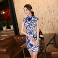 Summer Short Sleeve Traditional Chinese Women's Dress Elegant Flower Qipao Short Mini Cheongsam Tops Size S M L XL XXL