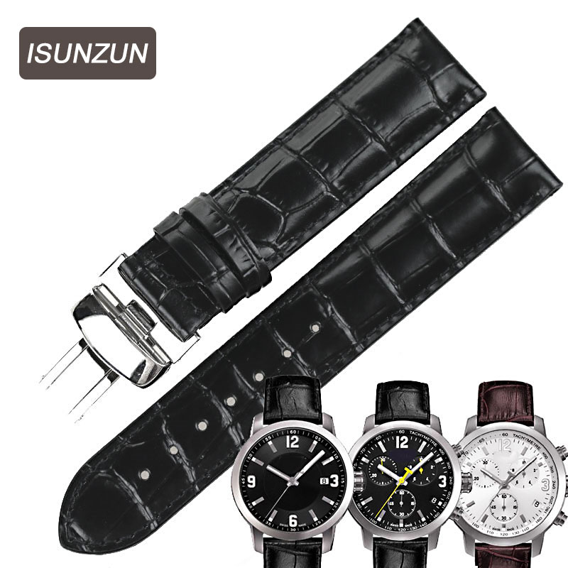 ISUNZUN Men/Women Watchband For Tissot T055 Watch Band PRC200 T055410A/417/430 Male Watch Genuine Leather Watch Strap 19 23 mm tissot t055 417 16 057 00