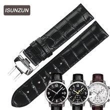 ISUNZUN Hommes/Femmes Bracelet Pour Tissot T055 Bande de Montre PRC200 T055410A/417/430 Mâle Montre En Cuir Véritable montre Bracelet 19 23mm