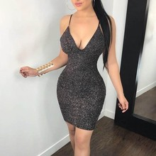 Women Dress slim Sexy Sequin Sleeveless dresses evening club party Vest ladies Short Mini Splice Sling Casual Spring F80