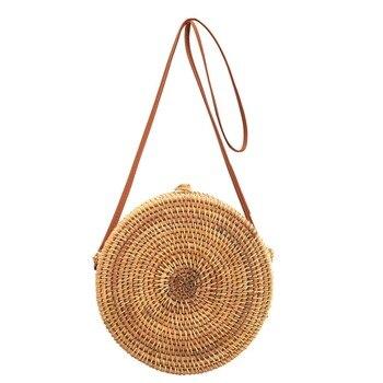 f3d2b5744bc2 Женская летняя плетеная Сумка из ротанга круглые соломенные сумки ручной  работы половина круглвя плетеная пляжная сумка через плечо кругл.