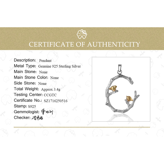 Lotus Fun Real 925 Sterling Silver Natural Original Fine Jewelry 18K Gold Bird on Branch Pendant without Necklace for Women Gift 5