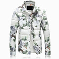 winter jacket men high quality cotton jacket men's trun down collar pine printed white parkas coat high quality warm overcoat