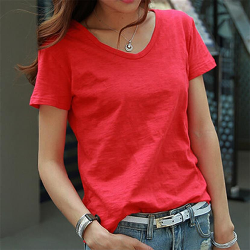 Summer short-sleeved Korean version of the big red bamboo cotton casual loose white V-neck T-shirt solid color T-shirt tops wome