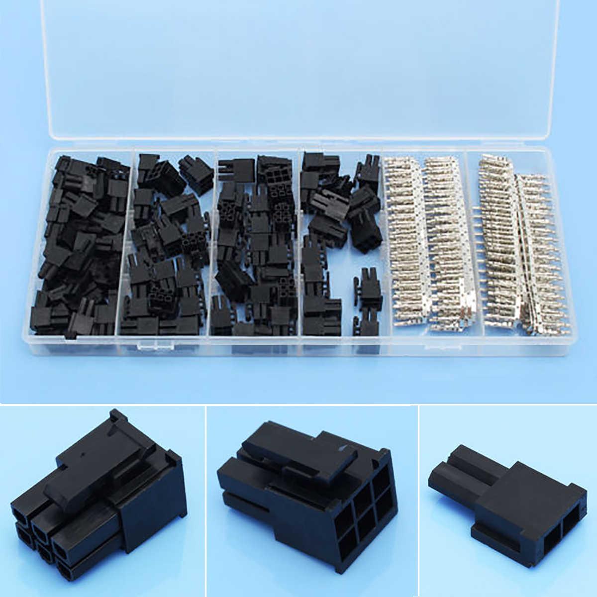 Mayitr 50 pces 5557 8(6 + 2) p atx eps pci-e conector com 400 pces 5557 terminais fêmea friso pino plug caixa de plástico conjuntos