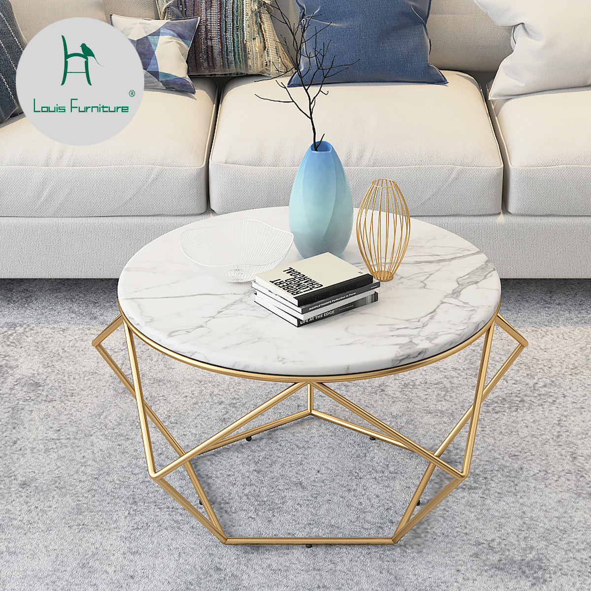 Lighted End Tables Living Room Furniture: Louis Fashion Coffee Tables Nordic Light Luxurious Round