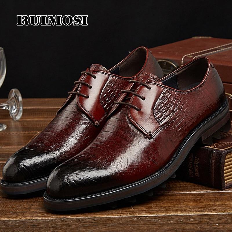 RUIMOSI Formal Man Crocodile Dress Shoes Genuine Leather Platform Wedding Oxfords Luxury Brand Round Toe Men's Footwear PF70