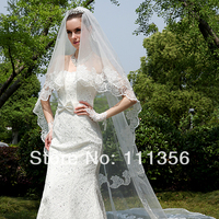 Fashion White Ivory bridal veils Cathedral Length luxury lace wedding veil With Comb