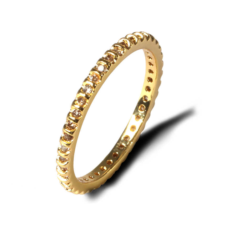 CZ Eternity แหวน Skinny แหวนหมั้น birthstone สายรุ้งสีคลาสสิกรอบวงกลมบางแหวน