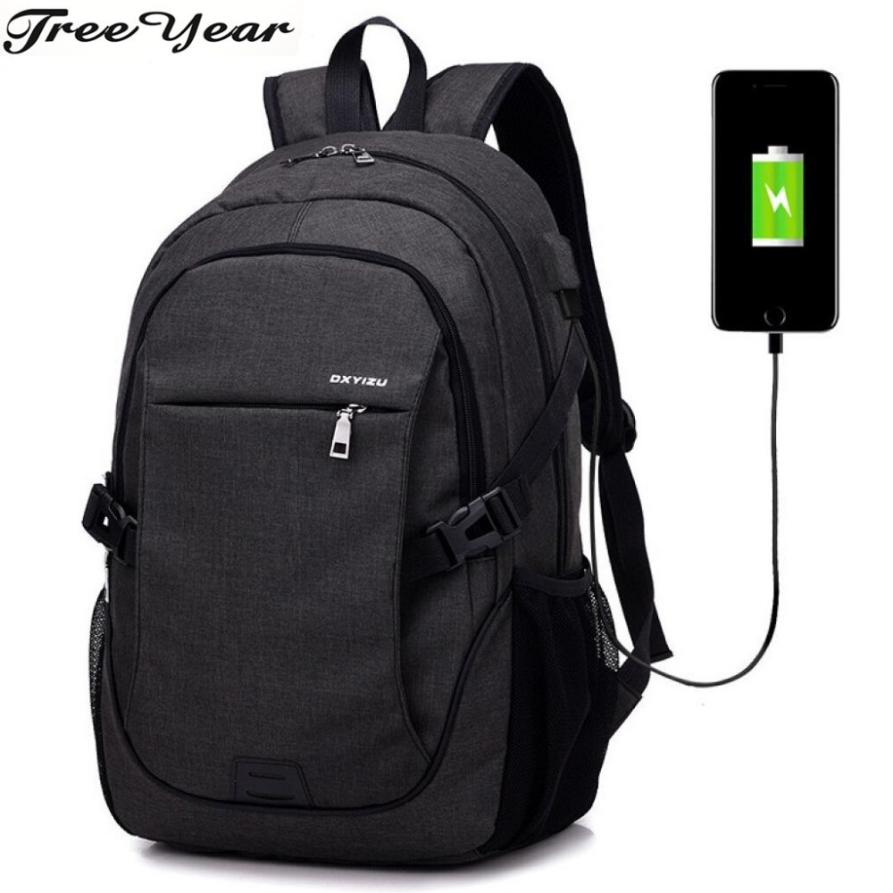 Male Nylon Waterproof Travel Backpack Schoolbag Mochila Fashion Brand Usb Charging Men Backpack 15inch Laptop Bag Backpacks