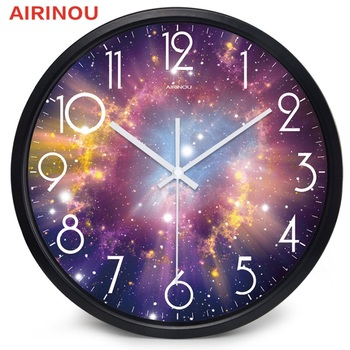 Airinou the Moon Starry Sky and Mars 3 Styles ,Glass&Metal Silent Movement Wall Clock,Children Room Museum Theme Park  Decorate 13