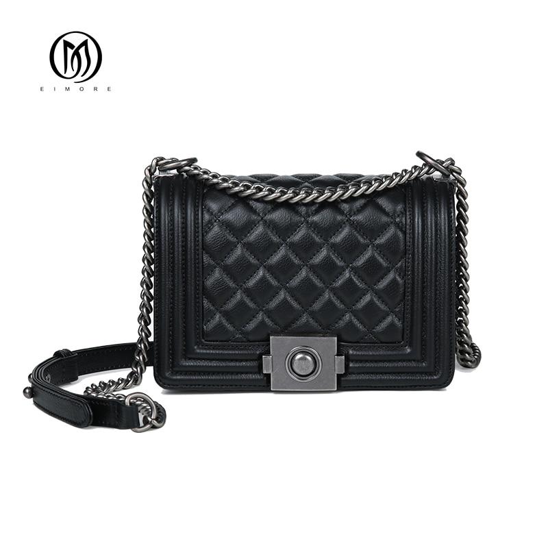 EIMORE Women Messenger Bags Luxury Genuine Leather Handbags High Quality Real Cowskin Shoulder Bag Crossbody Bags