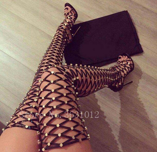 2018 Runway Top Brand Spikes Rivets Cages Cut-outs Summer Women Sandals Boots Thigh High Heels Back Zipper Open Toe Shoes Woman
