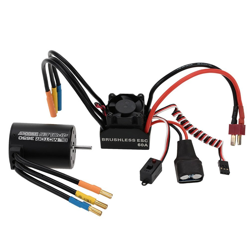3650 3900KV 4P Sensorless Brushless Motor 60A Brushless Elec Speed Controller ESC w/ 5.8V/3A Switch Mode BEC for 1/10 RC Car 3650 3900kv 4p sensorless brushless motor 60a brushless elec speed controller esc w 5 8v 3a switch mode bec for 1 10 rc car