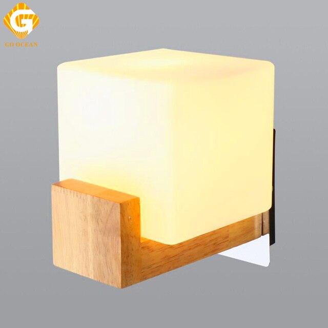 GO OCEAN Wall Lamps Bedroom Bedside Lamp Wood Fixture Modern LED ...
