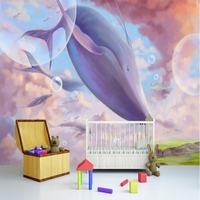 Free Wallpaper Pictures Girls Wall Mural Hand Drawn Cartoon Flying Whale Desktop Background Wallpaper Sitting Room Decor Kitchen