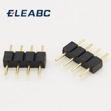 10 pçs/lote 4 pinos adaptador de conector rgb, tipo macho agulha de pino, 4pin duplo, para rgb 5050 3528 luzes led diy inserir
